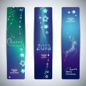 Vector Set of bright Christmas New Year banners with glittering stars and Christmas deer Eps 10