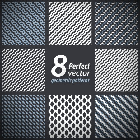 A set of 8 vector seamless stylish patterns.