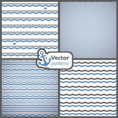 Set of 4 seamless patterns with waves