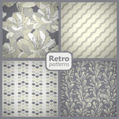 Retro collection of 4 seamless patterns
