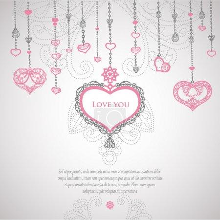 Illustration pour Carte de Saint Valentin vintage Vector. - image libre de droit