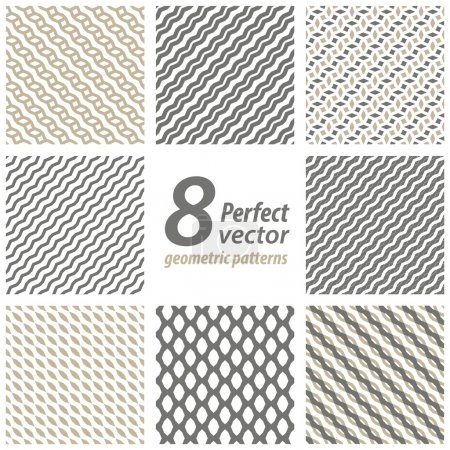 Illustration for Collection of 8 seamless geometric patterns. - Royalty Free Image