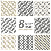 Collection of 8 seamless geometric patterns