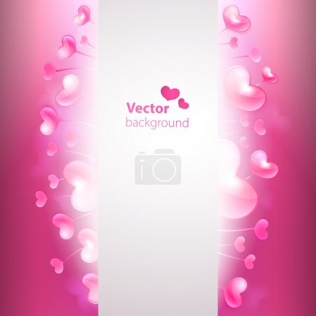 Vector background with glossy hearts and copy space.