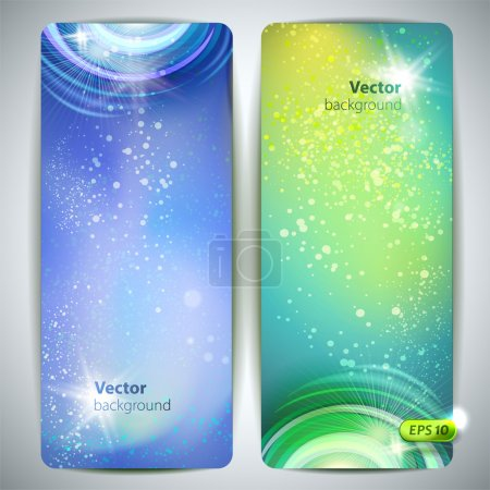 Vector set of banners with glossy vortex and sparkles.