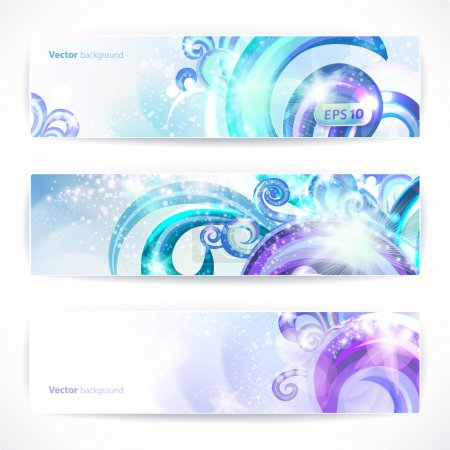 Set of three vector headers. Abstract artistic Backgrounds.