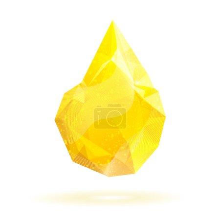 Geometric crystal yellow drop. Vector.