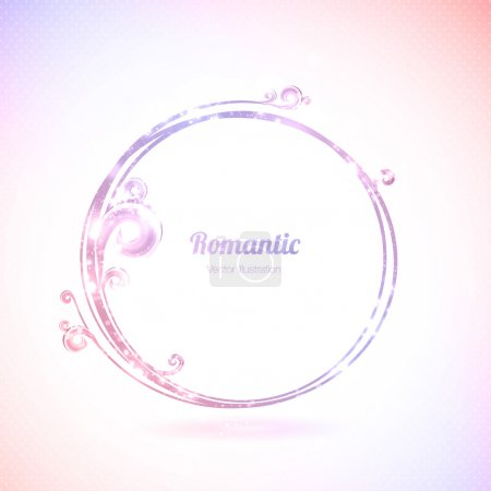 Pink vector round frame with design elements.