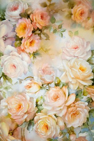 Photo for Floral paper background with apricot roses Floral paper background with apricot roses - Royalty Free Image