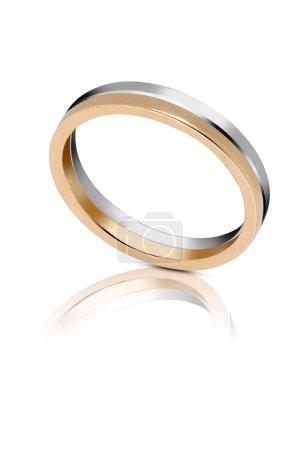Bicolour gold wedding band