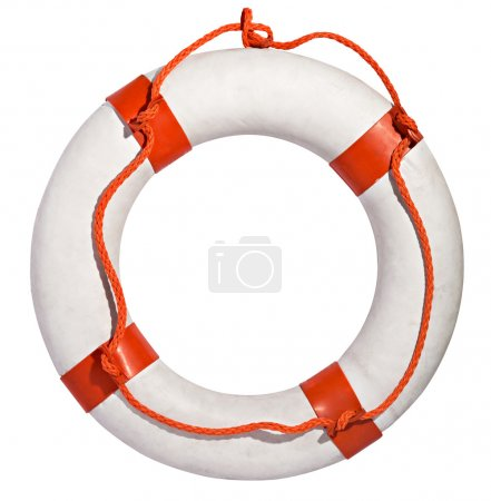 Life preserver with red rope