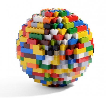 Globe or sphere of multicolored Lego blocks