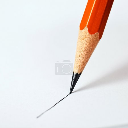 Photo for Pencil draws a straight line on a white background - Royalty Free Image