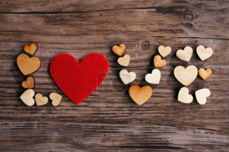 Photo for Love text on wooden board - Royalty Free Image