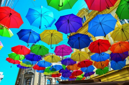 Photo for Street decoration, lots of colorful umbrellas in the air, Belgrade, Serbia - Royalty Free Image