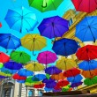 Street decoration, lots of colorful umbrellas in t...