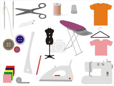 Illustration pour Ensemble de 17 icônes vecteur pour la couture et la couture aiguilles, bobine, fil, broches droites, dé à coudre, mannequin, ruban à mesurer, bobines, ciseaux, machine à coudre, boutons, planche à repasser, coton, cintre, crayon, craie, fer - image libre de droit