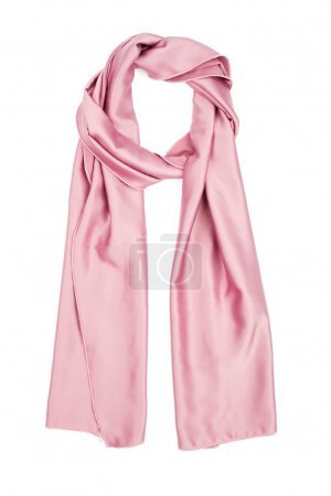 The scarf pink silk, isolated on a white background