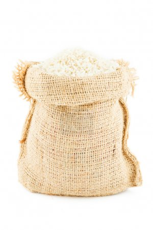 A sack is linen filled by rice