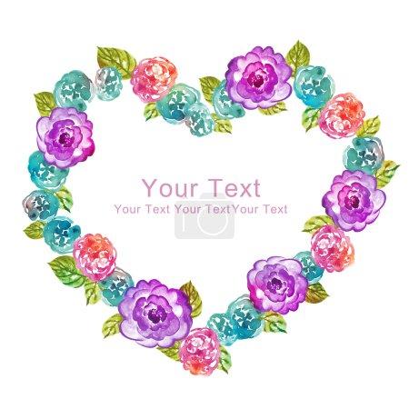 Photo pour Coeur de fleurs. collection aquarelle illustration florale. fleurs disposées en forme de la parfaite de la Couronne - image libre de droit