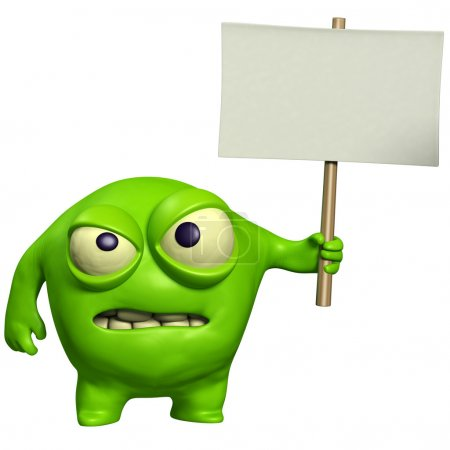 halloween monster holding placard