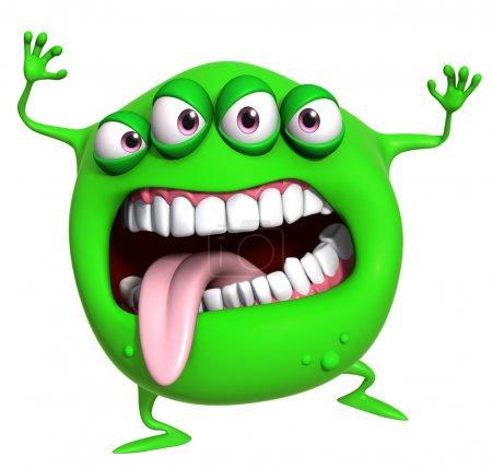 3d cartoon green monster...