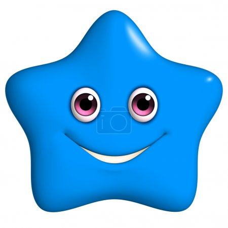 3d cartoon cute blue star