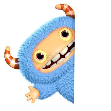 3d cartoon blue monster