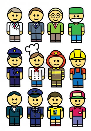 Photo for Occupations : doctor, businessman, teacher, surgeon, policeman, chef,fireman,builder,actor,pilot, sportsman, cashier. - Royalty Free Image