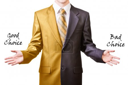 Photo for Young businessman offers two options - Royalty Free Image