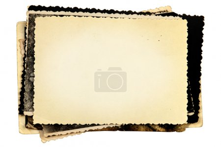 Stack of old photos with isolated on white background