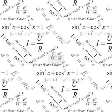Trigonometry, algebra and physics formulas seamless pattern, modern stylish texture, repeating geometric tiles.
