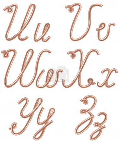 U, V, W, X, Y, Z Letters Made of Metal Copper Wire, Moder