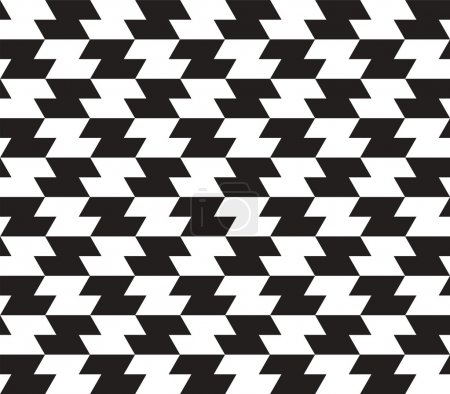 Black and White Zig Zag Vector Seamless Pattern Background. Line