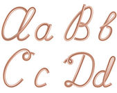 A B C D Vector Letters Made of Metal Copper Wire Modern US English Calligraphy Style Alphabet Isolated on White