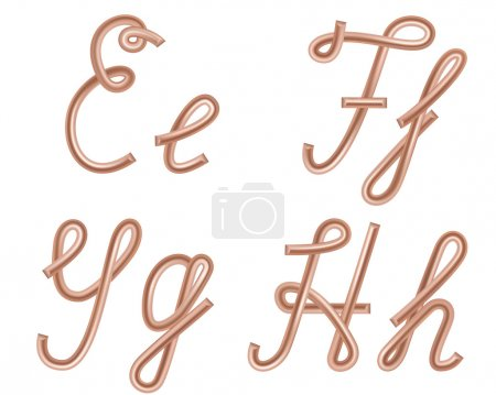 E, F, G, H Vector Letters Made of Metal Copper Wire, Modern US E
