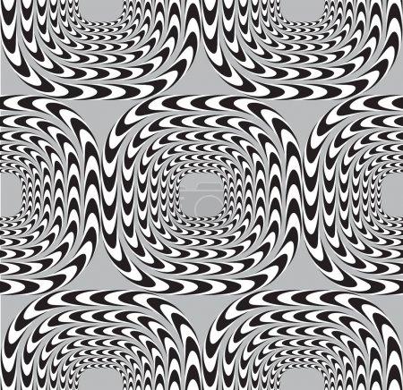 Illustration pour Illusion optique, Fond vectoriel sans couture, Les carrés se déplacent lentement . - image libre de droit