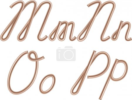 M, N, O, P Vector Letters Made of Metal Copper Wire