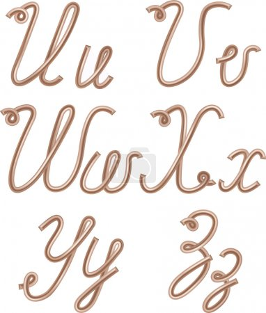 U, V, W, X, Y, Z Vector Letters Made of Metal Copper Wire
