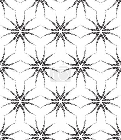Halftone Black and White Abstract Flowers