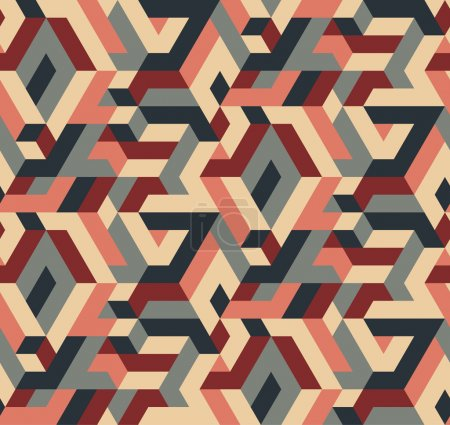 Illustration for Abstract Vector Seamless Geometric Pattern, Vintage Colors - Royalty Free Image