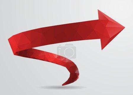 Illustration for 3D Red Spiral Arrow Pointer Sign, Polygonal Design. Vector Illustration. - Royalty Free Image