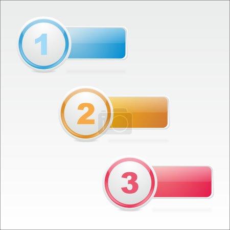 Ilustración de Tres iconos de cristal de diferentes flores para un diseño web - Imagen libre de derechos