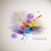 Blue, green, purple ink stains on white paper and colorful flowe