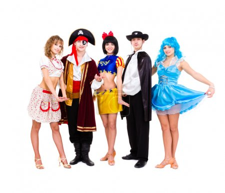 Photo for Dancers in carnival costumes posing on a white background - Royalty Free Image