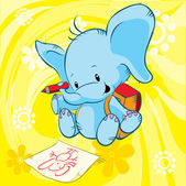 Cute elephant with school bag drawing on paper and sitting - yellow background with abstract flowers
