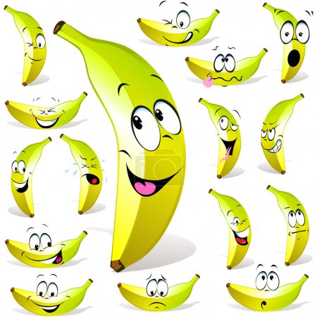 Illustration for Banana cartoon with many expressions isolated on white background - Royalty Free Image