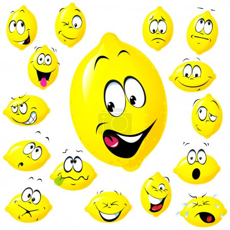 Illustration for Lemon cartoon with many facial expressions - Royalty Free Image