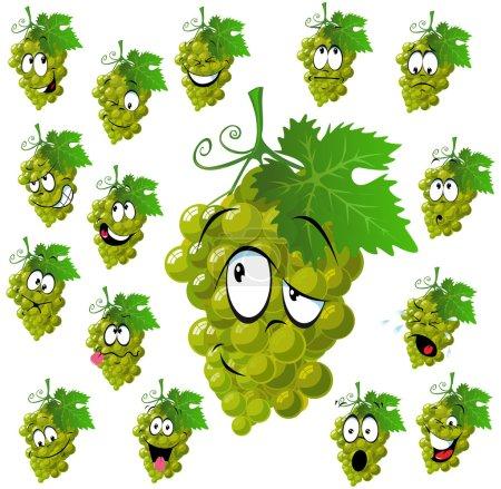 Illustration pour Raisin de vin avec de nombreuses expressions - image libre de droit