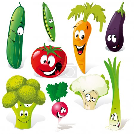 Illustration for Funny vegetable cartoon isolated on white background - Royalty Free Image